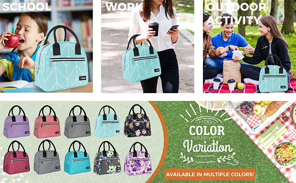 opux insulated lunch bags box tote for adults kids girls women