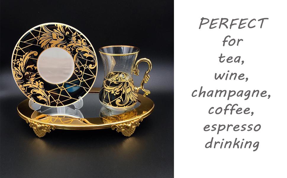 turkish tea glasses cups set