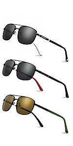 Lightweight Rectangular Polarized Sunglasses