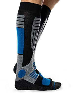 Close-up side view of person's leg wearing Occulto Skiing Socks for Men