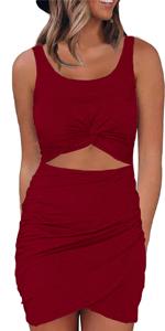 Zalalus Sexy Cut Out Dress Wine Red