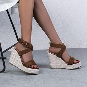 Women Sexy Cross Ankle Strappy Espadrille Wedge Platform Sandals Beach Sandals