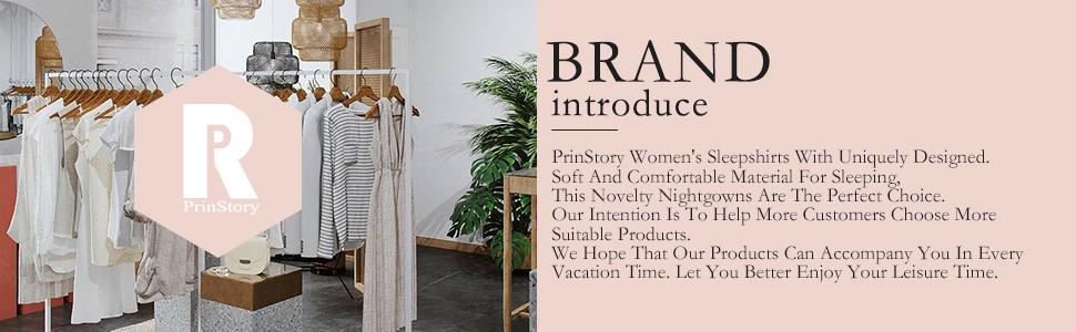 PrinStory Womens Sleepwear Soft Sleepshirt Pleated Nightshirt Scoopneck Casual Loungewear