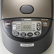 Control panel of the rice cooker shows all buttons and courses