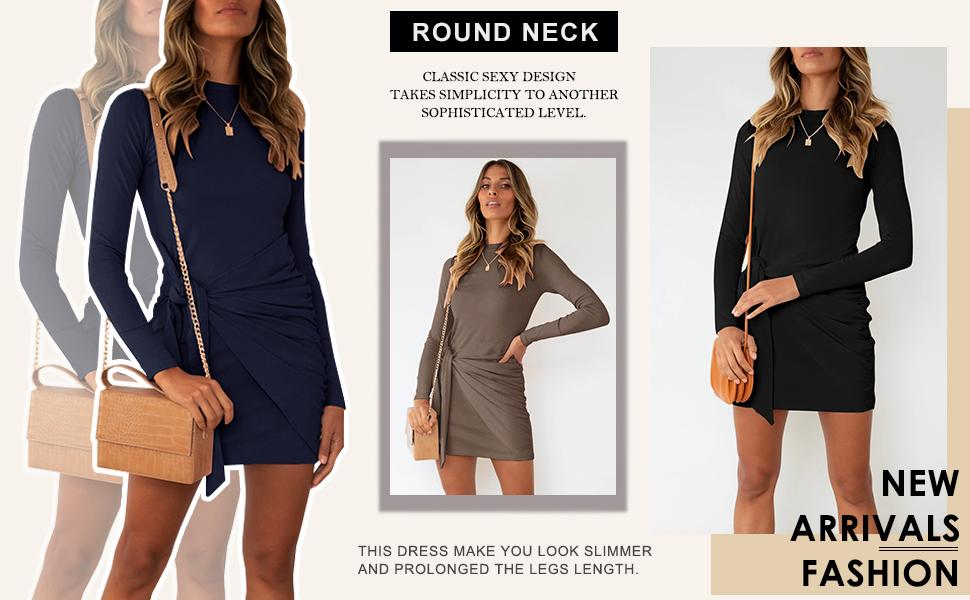 Women's Fall Long Sleeve Casual Mini Dress