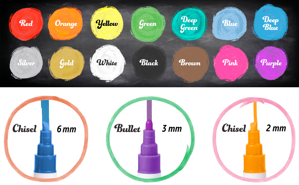 Colors of Markers included and type of marker tips included.