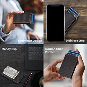 minimalist design wallet in picture, wallet beside phone, wallet on desk, wallet held in hands.