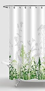 green wild floral shower curtain