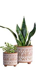 Diamond Pattern Ceramic Plants Pot
