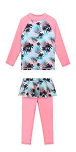 2PCS Long Sleeve Swimsuits for Girl Ruffle Skirt