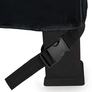 Click-close straps snap over legs to secure  cover on the windiest days