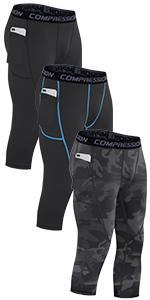 3/4 Mens Compression Pants