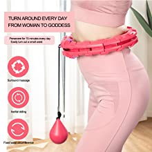 A woman wearing the hula hoop with text description