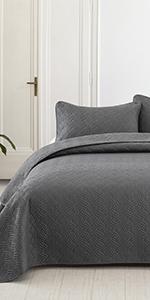 grey Wave Stitched quilt set