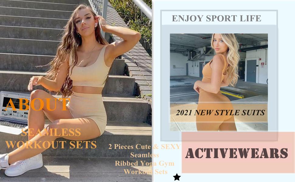 Niyokki Cute Summer Crop Top and High Waist Leggings Matching Workout Set