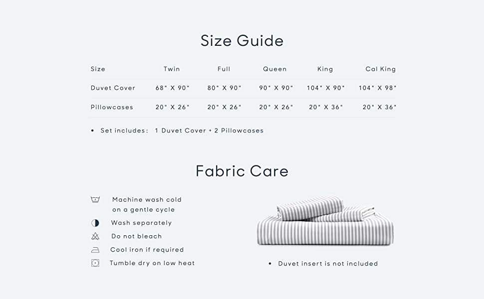 size guide and fabric care