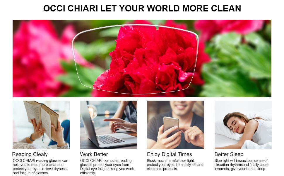 OCCI CHIARI Blue Light blocking Reading Glasses Computer Readers Pouches