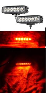 Red Led Light Bar 2PCS 18W Spot Driving Fog Light Off-road Work Light