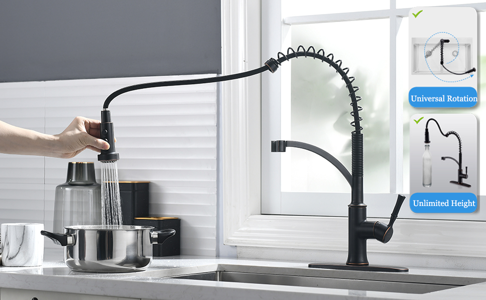 oil rubbed bronze kitchen sink faucet with pull down sprayer