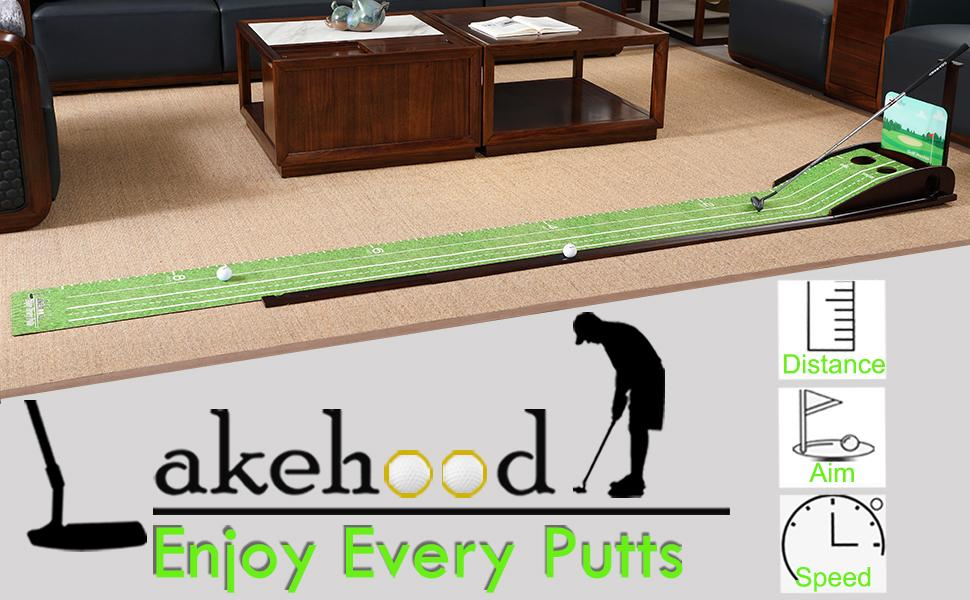 Wood Golf Putting Green Mat Practice Putting Green with Ball Return