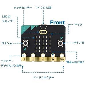 iftiny micro:bit microbit マイクロビット LED 5×5 ディスプレイ、操作用ボタン、マイク、スピーカー、タッチセンサー、加速センサー、磁気センサー、温度センサー、光センサー