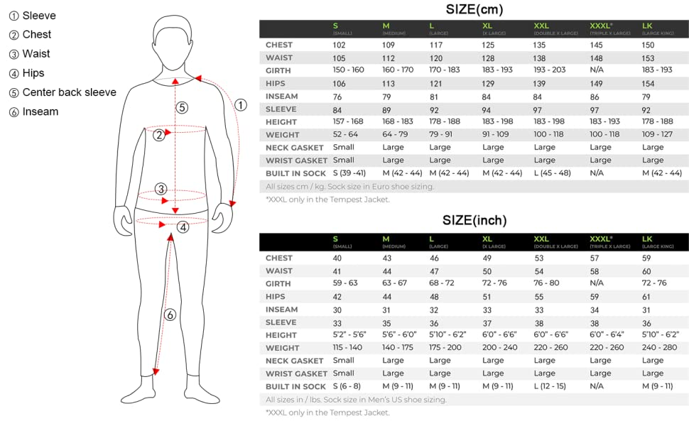 DRY SUITS FOR MEN SIZE CHART