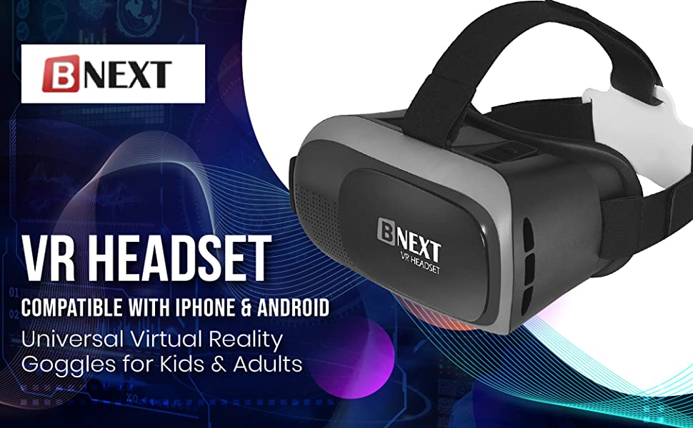 VR headset. universal virtual reality goggles for kids & adults. Compatible with iphone & android.