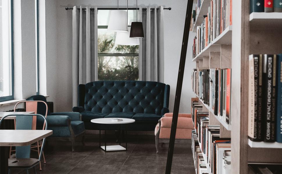 Velvet curtain creates a comfortable feeling for the study