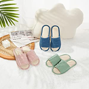 COZY MEMORY corduroy open toe slippers for couples women men with high memory foam