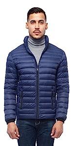 rokka and rolla mens dark sapphire packable down puffer jacket winter coat