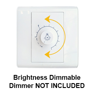 Brightness dimmable, dimmer not included