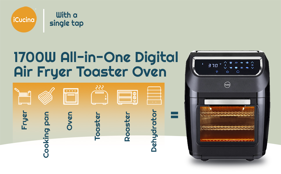 1700W All-in-One Digital Air Fryer Toaster Oven