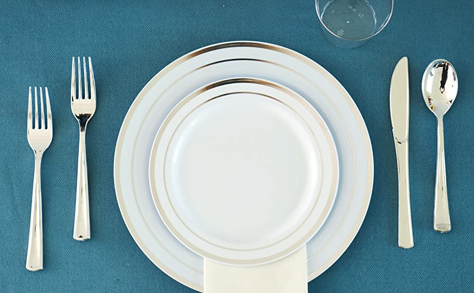 Plastic Party Plates and Silverware for Weddings