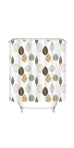 Simple Leaf Shower Curtains for Bathroom