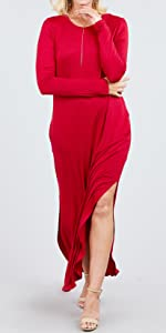 Women Long Sleeve Plain Maxi Comfortable Casual Pockets Dress…