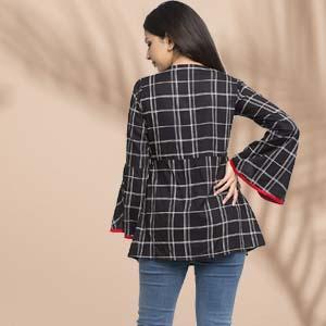 women top kurti black white check cotton