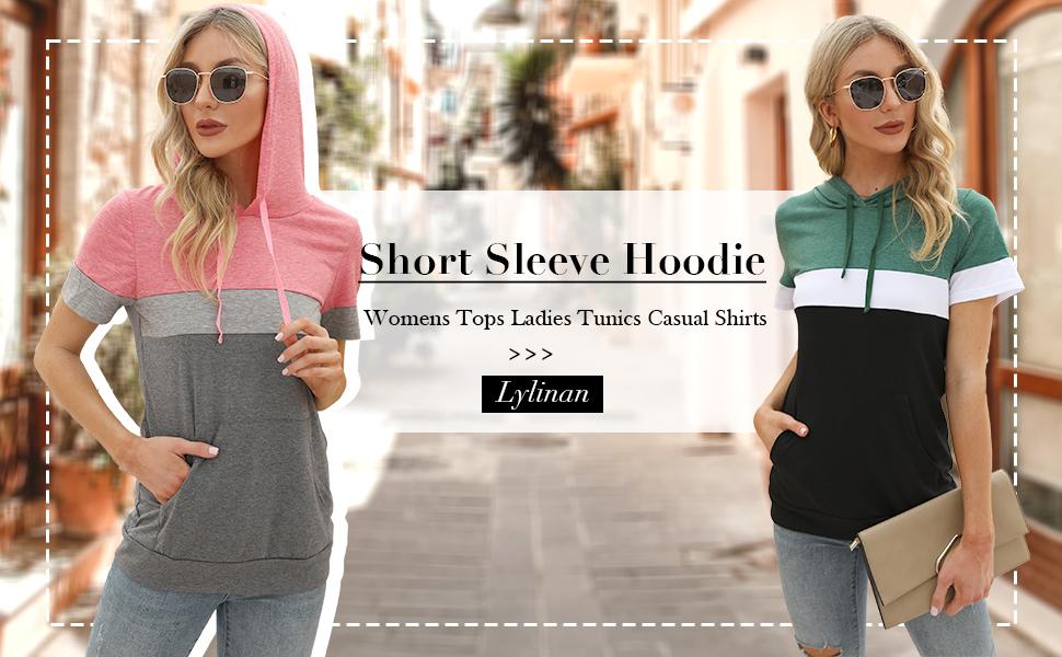 short sleeve hoodie for women