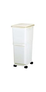 トンボ ゴミ箱 34.5L 日本製 フタ付き 2段 分別 スリム キャスター付 ホワイト セパ 新輝合成