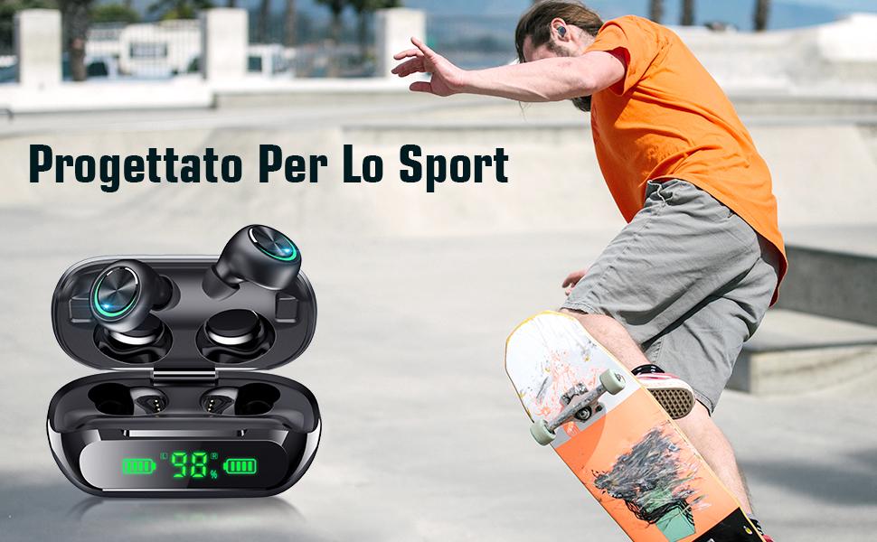 Cuffie Bluetooth, ForJoy Auricolari Bluetooth 5.0 Senza Fili Mini Cuffie Wireless Sport in Ear
