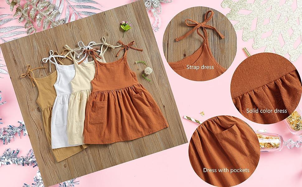 Girls summer dress with pockets
