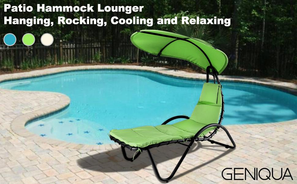 Patio Hammock Lounger Swing Outdoor Chaise Canopy  Stand Garden Porch Poolside Chair Cushion seat