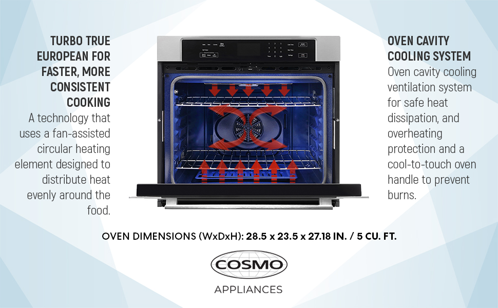 cosmo oven, electric wall oven, wall oven, 30ESWC