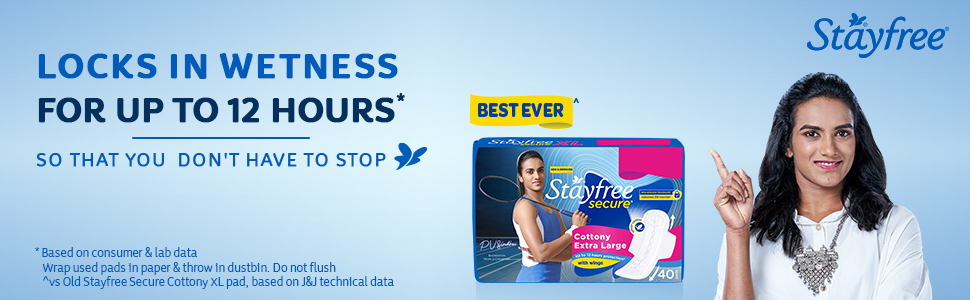 Stayfree Secure X-Large Cottony Soft Cover Sanitary Pads For Women With Wings