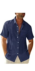 LVCBL Mens Casual Cotton Shirt Long Sleeve Band Collar Henley Shirt Tops …