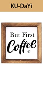 But First Coffee Framed Block Sign 7 x 7 inches Rustic B081PV5J3P