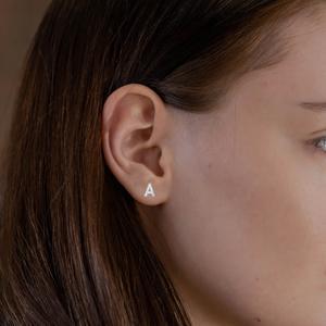 Initial Stud Earrings