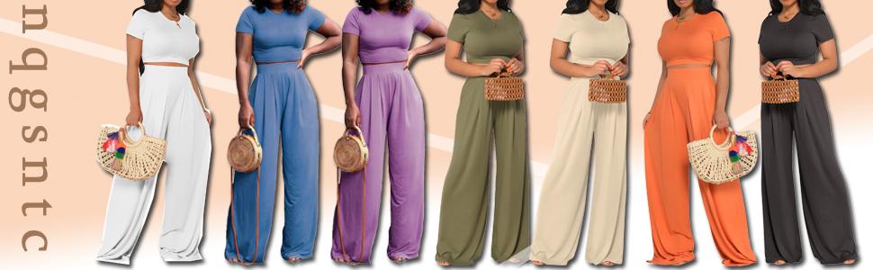 Women's Sexy 2 Piece Outfits Short Sleeve Crop Top High Waist Wide Leg Pants Sets Tracksuit