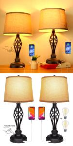set of 2 3way lamps table lamps for living room table top touch lamps f