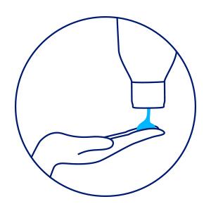 Ilustração: embalagem do protetor despejando o conteúdo em uma mão