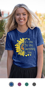 Women Sunflower Graphic Tees Its Fine Funny Letter Print T-Shirt